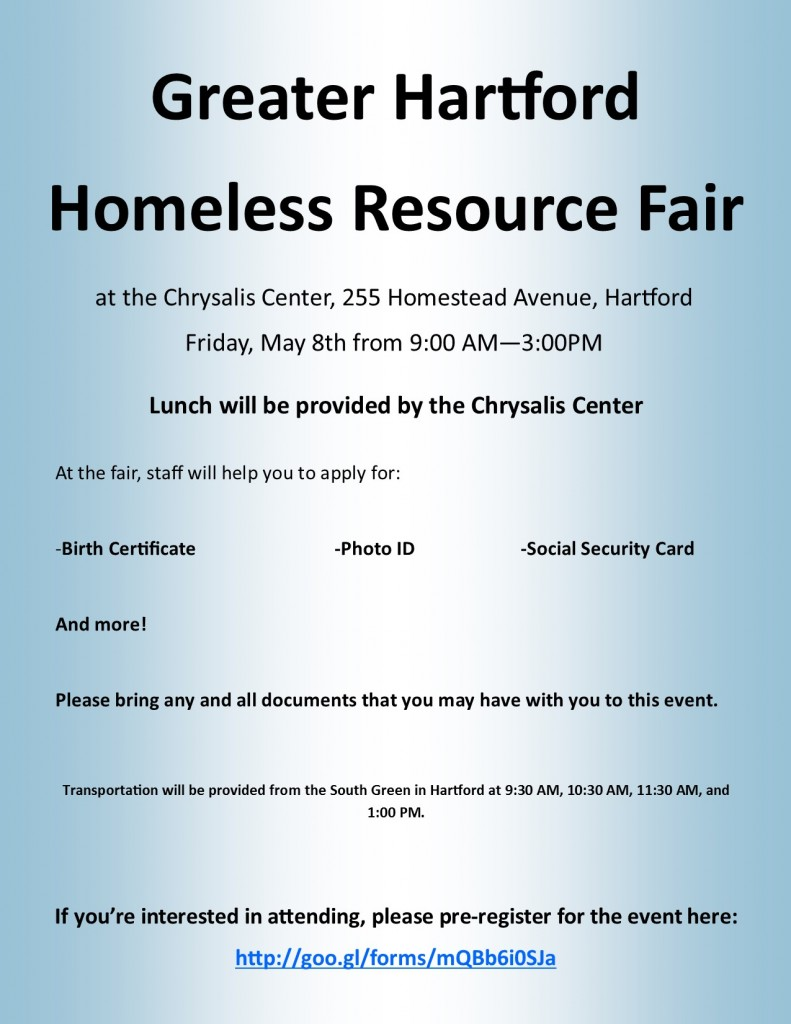 Greater Hartford Homeless Resource Fair Flyer